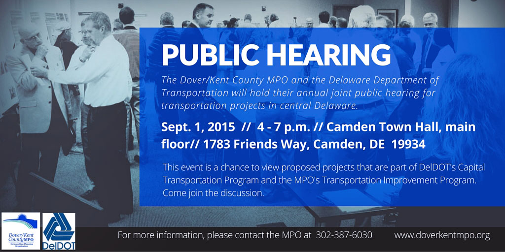 MPO, DelDOT joint Public CTP, TIP public hearing set for Sept. 1